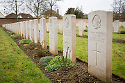 Rows and rows of headstone of fallen soldiers. Faubourg D'Amiens cemetery is the burial site of 2678 identified casualties and a memorial to thousands more from the First and Second World War.  It is looked after and managed by the Commonwealth War Graves Commission in the town of Arras, France. (photo by Andrew Aitchison / In pictures via Getty Images)