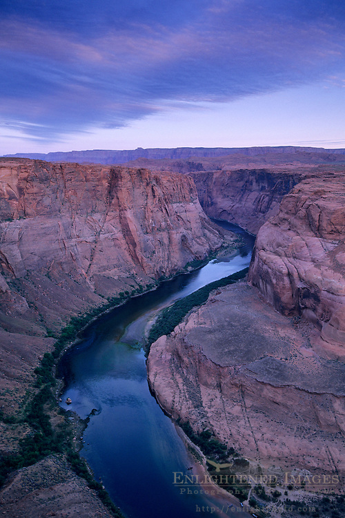 Dawn light at Horseshoe Bend, Colorado River canyon, near Page, Arizona