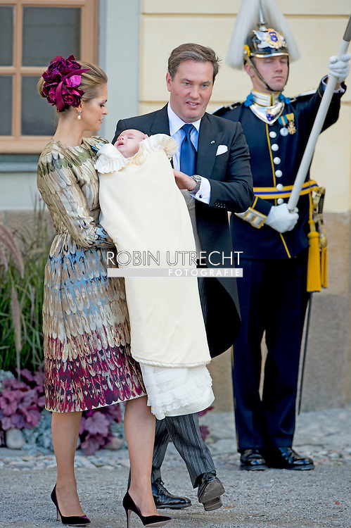 11-10-2015 STOCKHOLM BORGHOLM <br /> Princess Madeleine of Sweden and her husband Chris O&rsquo;Neill after the christening of Prince Nicolas  . Princess Madeleine of Sweden and her husband Chris O'Neill will have their newborn son Prince Nicolas baptised on Sunday 11 October.Nicolas will be christened in the royal chapel of Drottningholm Palace, located on the outskirts of Stockholm. It is the same place where his big sister Princess Leonore, who is now 18 months old, was also baptised last year. princess victoria and prince daniel and princess estelle <br /> Queen  Silvia and King Carl XVI Gustaf of Sweden<br /> Princess Sofia and  Prince Carl Philip COPYRIGHT ROBIN UTRECHT<br /> 2015/11/10 STOCKHOLM BORGHOLM<br /> na de doop van prins Nicolas. Prinses Madeleine van Zweden en haar man Chris O'Neill zal hebben hun pasgeboren zoon Prince Nicolas gedoopt op zondag 11 October.Nicolas zal worden gedoopt in de koninklijke kapel van Drottningholm Paleis, gelegen aan de rand van Stockholm. Het is dezelfde plaats waar zijn grote zus prinses Leonore, die nu 18 maanden oud, werd ook gedoopt vorig jaar. COPYRIGHT ROBIN UTRECHT<br /> prinses Victoria en Daniel Westling en prinses estelle<br /> Koningin Silvia en koning Carl XVI Gustaf van Zweden<br /> Princess Sofia en prins Carl Philip