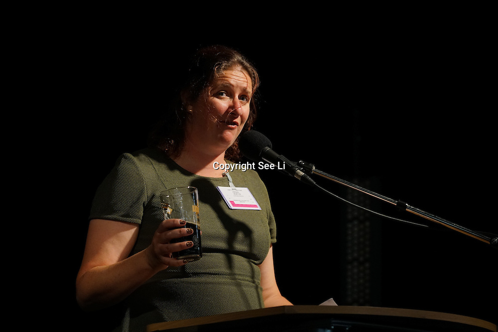 London,England,UK, 9th Aug 2016 : Speaker Abigail Newton<br /> is a CAMRA National Executive Members at the Great British Beer Festival Stage (GBBF) at at Kensington Olympia, London, UK. Photo by See Li