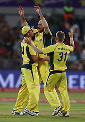 John Hastings of Australia celebrates taking the wicket of Hashim Amla of South Africa during the 3rd ODI match between South Africa and Australia held at Kingsmead Stadium in Durban, Kwazulu Natal, South Africa on the 5th October  2016<br /> <br /> Photo by: Steve Haag/ RealTime Images