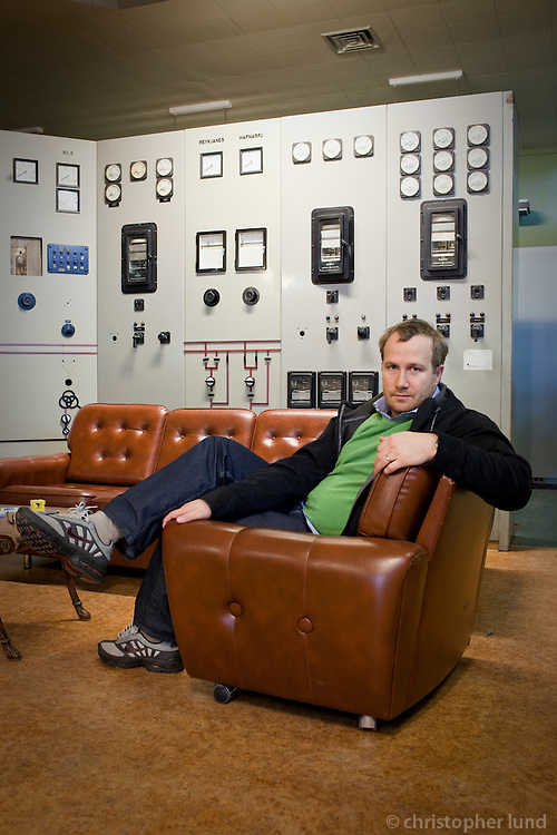 Andri Snær Magnason, writer. Photo taken at Toppstöðin old reserve Diesel Powerstation that now is hosting creative people and skilled workers in Reykjavík.