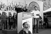 Il segretario della Lega Matteo Salvini e Silvio Berlusconi sul palco della manifestazione della Lega Nord con Forza Italia e Fratelli d'Italia. Bologna, 8 novembre 2015. Guido Montani / OneShot<br /> <br /> Lega Nord leader Matteo Salvini and Silvio Berlusconi during the Lega Nord, Fratelli d'Italia and Forza Italia gathering in piazza Maggiore. Bologna, 8 november 2015 Guido Montani / OneShot