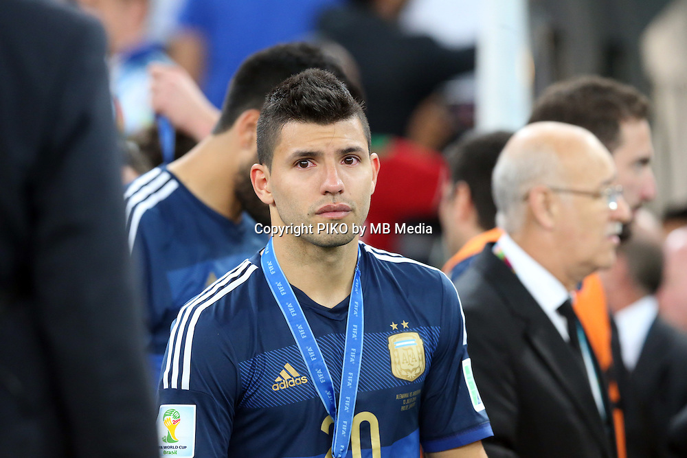 Fifa Soccer World Cup - Brazil 2014 -  Trophy Delivery - Crowning of Champion  - <br /> GERMANY (GER) Vs. ARGENTINA (ARG) - Estadio do Maracana Rio De Janeiro (BRA)  -Brazil (BRA) - 13 July 2014 <br /> Here Trophy coronation.  <br /> Argentina Player Sergio Aguero cry.<br /> © PikoPress