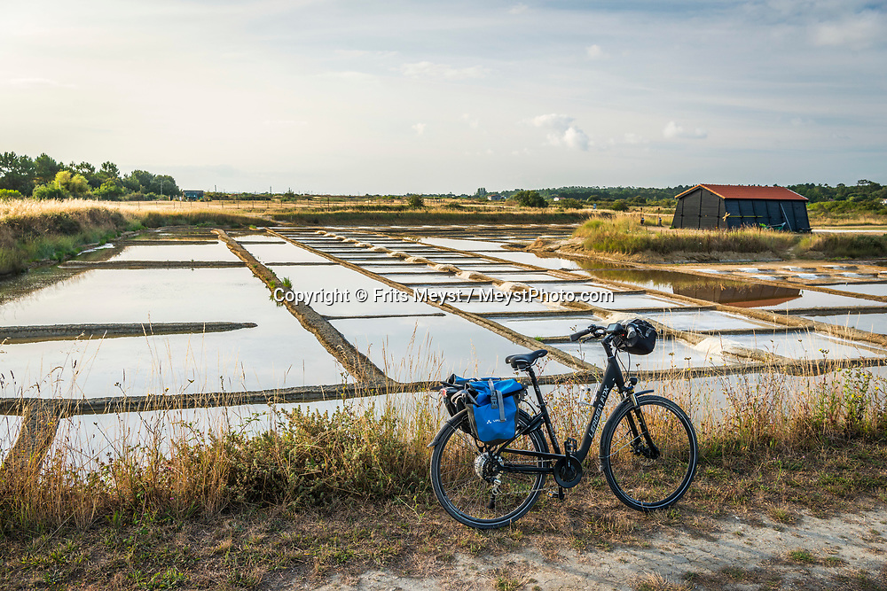 Charente Maritime, France, July 2019. The salt pans of Port des Salines. The islands of Ile de Re and Ile d'Oleron are made for relaxation, and light cycling tours along beached, forests, oyster farms and salt pans. Photo by Frits Meyst / MeystPhoto.com