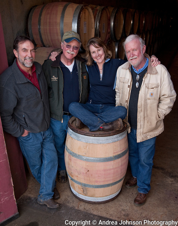 Oregon winemakers Steve Doerner, Cristom; Terry Casteel, Bethel Heights, Lynn Penner-Ash, and Ted Casteel, Bethel Heights