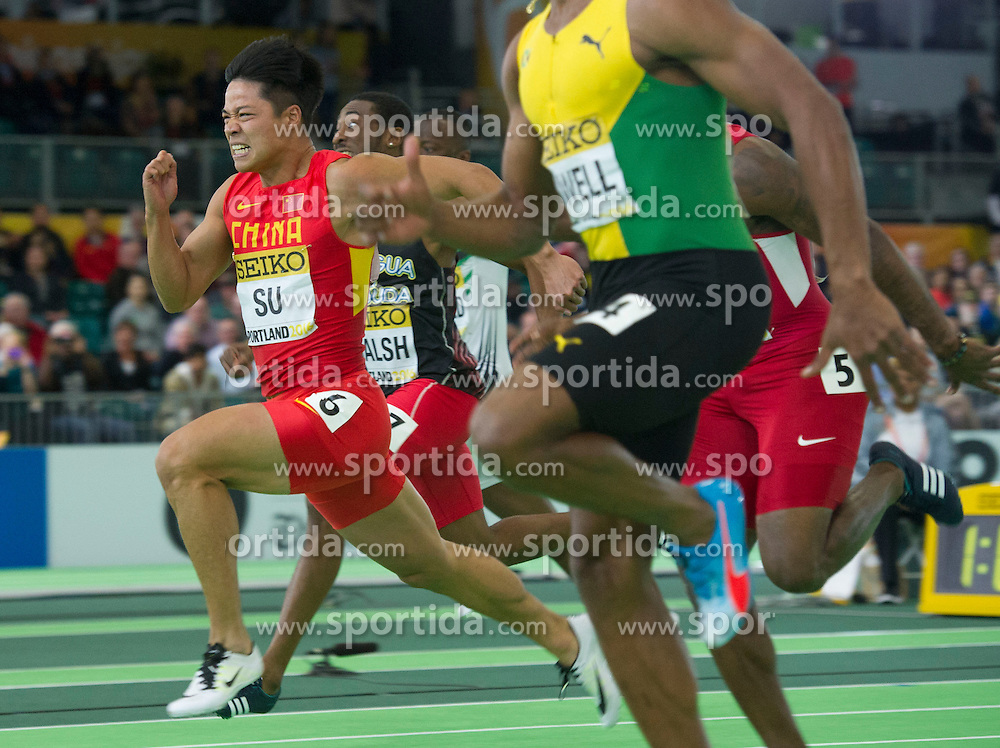 Su Bingtian(1st, L) of China competes during the men's 60 meters semi-final at the 2016 IAAF World Indoor Athletics Championships at the Oregon Convention Center in Portland, the United States, on March 18, 2016. EXPA Pictures &copy; 2016, PhotoCredit: EXPA/ Photoshot/ Yang Lei from Chongqing<br /> <br /> *****ATTENTION - for AUT, SLO, CRO, SRB, BIH, MAZ, SUI only*****