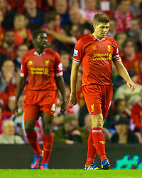 27.08.2013, Anfield, Liverpool, ENG, League Cup, FC Liverpool vs Notts County FC, 2. Runde, im Bild Liverpool's captain Steven Gerrard looks dejected as his side throw away a two goal lead during the Football League Cup 2nd Round match during the English League Cup 2nd round match between Liverpool FC and Notts County FC, at Anfield, Liverpool, Great Britain on 2013/08/27. EXPA Pictures © 2013, PhotoCredit: EXPA/ Propagandaphoto/ David Rawcliffe<br /> <br /> ***** ATTENTION - OUT OF ENG, GBR, UK *****