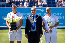 LIVERPOOL, ENGLAND - Sunday, June 18, 2017: Runner-up Marcus Willis (GBR), Lord Mayor of Liverpool is Councillor Malcolm Kennedy, winner Steve Darcis (BEL) with the trophy after winning the Men's Final on Day Four of the Liverpool Hope University International Tennis Tournament 2017 at the Liverpool Cricket Club. (Pic by David Rawcliffe/Propaganda)