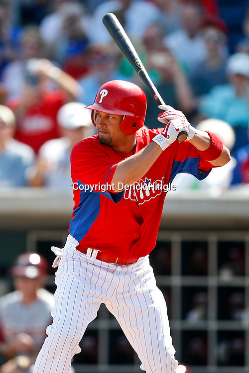 February 24, 2011; Clearwater, FL, USA; Philadelphia Phillies center fielder Shane Victorino (8) at bat during a spring training exhibition game against the Florida State Seminoles at Bright House Networks Field. Mandatory Credit: Derick E. Hingle