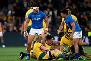 SYDNEY, AUSTRALIA - SEPTEMBER 07: Belgium Tuatagaloa of Samoa celebrates after winning a penalty during the international rugby test match between the Australian Wallabies and Manu Samoa on September 07, 2019 at Bankwest Stadium in Sydney, Australia. (Photo by Speed Media/Icon Sportswire)