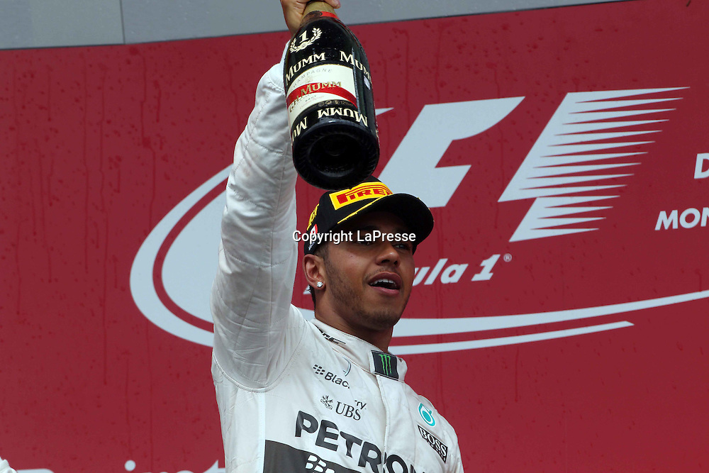 &copy; Photo4 / LaPresse<br /> 07/06/2015 Montreal, Canada<br /> Sport <br /> Grand Prix Formula One Canada 2015<br /> In the pic: race winner Lewis Hamilton (GBR) Mercedes AMG F1 W06
