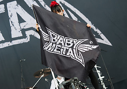 © Licensed to London News Pictures. 29/08/2015. Reading Festival, UK.  Babymetal performing at Reading Festival 2015, Day 2.  In this picture - Sumetal.  Photo credit: Richard Isaac/LNP