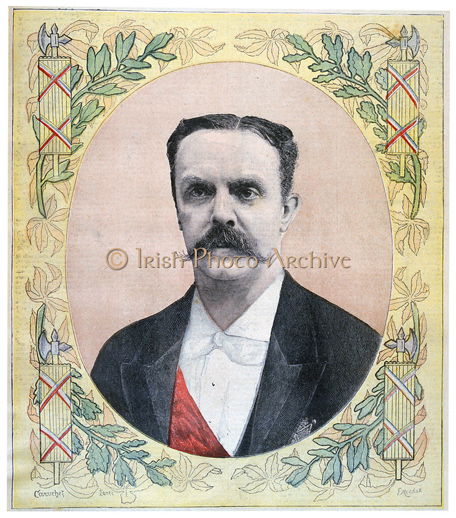Jean Casimir-Perier (1847-1907) French politician.  Elected President of France on 24 June 1894 on the assassination of  President Sadi Carnot. From 'Le Petit Journal', Paris, 9 July 1894.