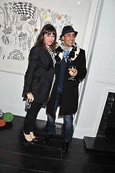 ANNIE MORRIS and RAQIB SHAW at a private view of art works by Annie Morris entitled 'There is A Land Called Loss' held at Pertwee Anderson & Gold Gallery, 15 Bateman Street, London W1 on 2nd February 2012.