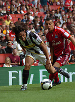 Photo: Tony Oudot/Richard Lane Photography.  Juventus v SV Hamburg. Emirates Cup. 03/08/2008. <br /> Mauro Camoranesi of Juventus beats Anis Ben-Hatira of Hamburg to the ball