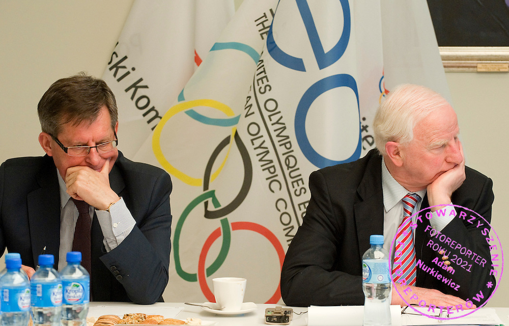 (L) Minister of Sport and Tourism Adam Giersz & (R) President of European Olympic Committee Patrick Hickey during special working meeting between Polish Olympic Committe, European Olympic Committee, Cyprus Olympic Committee and Danemark Olympic Committee in Olympic Centre in Warsaw, Poland...Poland, Warsaw, September 24, 2011..Picture also available in RAW (NEF) or TIFF format on special request...For editorial use only. Any commercial or promotional use requires permission...Photo by Adam Nurkiewicz / Mediasport