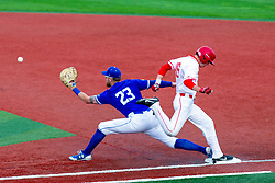 NORMAL, IL - May 01: Derek Parola beats out the throw to Dane Tofteland during a college baseball game between the ISU Redbirds and the Indiana State Sycamores on May 01 2019 at Duffy Bass Field in Normal, IL. (Photo by Alan Look)