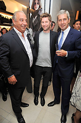 Left to right, SIR PHILIP GREEN, CHRISTOPHER BAILEY and  SIR STUART ROSE at a reception hosted by Vogue and Burberry to celebrate the launch of Fashions Night Out - held at Burberry, 21-23 Bond Street, London on 10th September 2009.