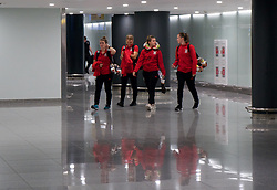 ASTANA, KAZAKHSTAN - Thursday, September 14, 2017: Wales players arrive at Astana Nursultan Nazarbayev International Airport as the squad travel to Kazakhstan ahead of the FIFA Women's World Cup 2019 Qualifying Round Group 1 match against Kazakhstan. (Pic by David Rawcliffe/Propaganda)