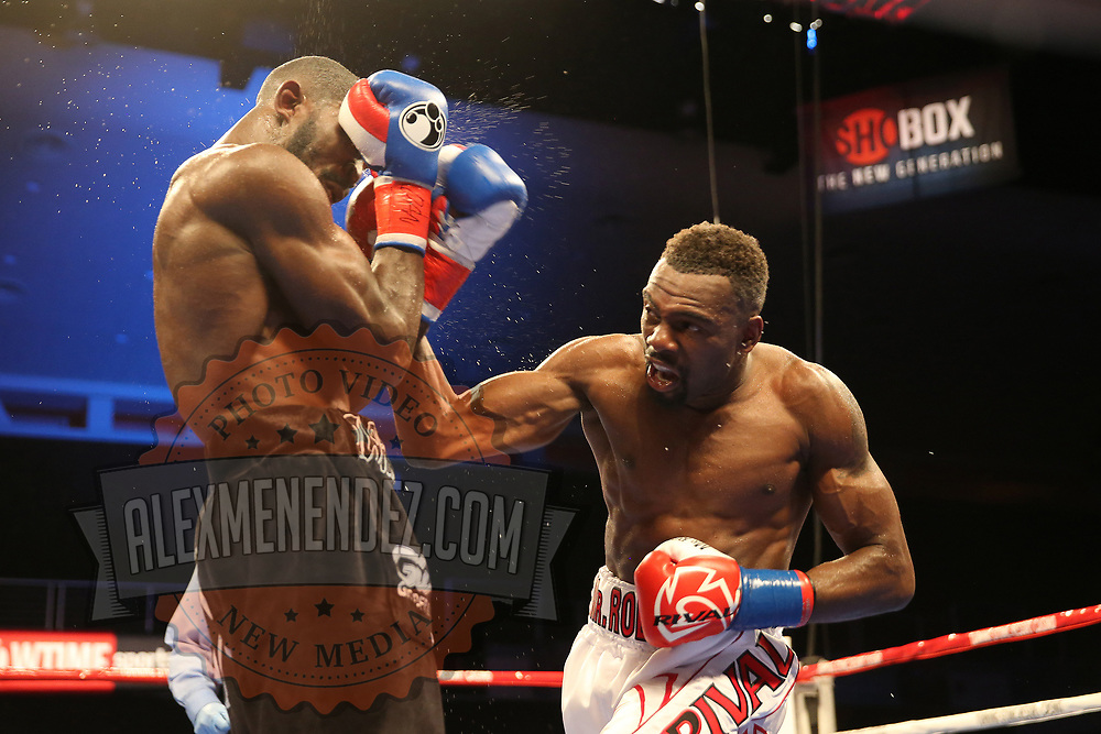 VERONA, NY - JUNE 09:  Steve Rolls (R) punches Demond Nicholson during a ShoBox boxing match at the Turning Stone Resort Casino on June 9, 2017 in Verona, New York. (Photo by Alex Menendez/Getty Images) *** Local Caption *** Steve Rolls; Demond Nicholson