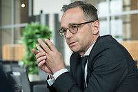 15 MAY 2019, BERLIN/GERMANY:<br /> Heiko Maas, SPD, Bundesaussenminister, waehrend einem Interview, Restaurant des Deutschen Bundestages, Reichstagsgebaeude<br /> IMAGE: 20190515-01-014