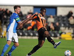Eastleighs Dean Beckwort Pushes Barnets John Akinde of the Ball, Barnet v Eastleigh, Vanarama Conference, Saturday 4th October 2014