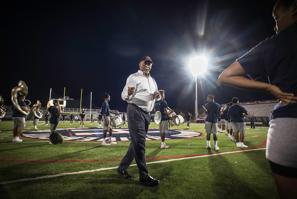 WASHINGTON,DC - October 5, 2017: Band Director John E. Newson gives instructions during practice. The NCC band is much larger than HU's band, and he wants to make sure his squad comes correct. Howard University's Showtime Marching Band is part of a long tradition of outstanding bands at HBCU's. The band practices in the days leading up to a home game against North Carolina Central. (André Chung for The Undefeated)