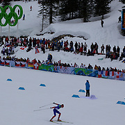 Winter Olympics, Vancouver, 2010.Lukas Bauer, Checkosolvakia, winning bronze in the Men's 15km Cross Country Skiing event at The Whistler Olympic Park, Whistler, during the Vancouver Winter Olympics. 14th February 2010. Photo Tim Clayton