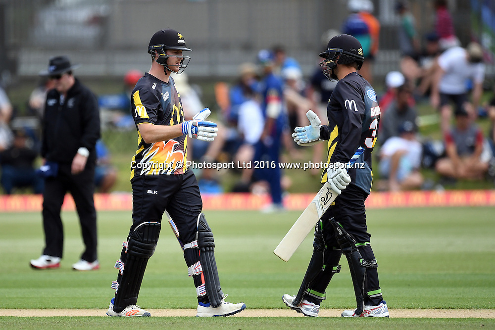 Wellington Firebirds Tom Blundell and Michael Pollard celebrate their 100 partnership during the McDonald's Super Smash, Auckland Aces vs Wellington Firebirds, Eden Park No.2, Auckland, Saturday 24th December 2016. Copyright Photo: Raghavan Venugopal / www.photosport.nz