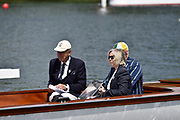 Henley on Thames, England, United Kingdom, 3rd July 2019, Henley Royal Regatta  Time keepers and race officials at the back of the umpires launch, Henley Reach, [© Peter SPURRIER/Intersport Image]<br /> <br /> <br /> 11:49:02 1919 - 2019, Royal Henley Peace Regatta Centenary,