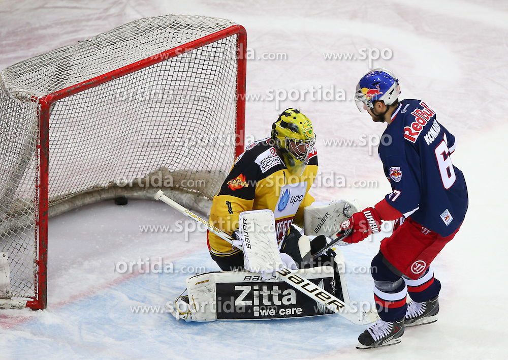27.02.2015, Albert Schultz Eishalle, Wien, AUT, EBEL, UPC Vienna Capitals vs EC Red Bull Salzburg, 52. Runde, im Bild Matthew Zaba (UPC Vienna Capitals) und Konstantin Komarek (EC Red Bull Salzburg) // during the Erste Bank Icehockey League 52nd round match between UPC Vienna Capitals and EC Red Bull Salzburg at the Albert Schultz Ice Arena, Vienna, Austria on 2015/02/27. EXPA Pictures © 2015, PhotoCredit: EXPA/ Thomas Haumer