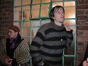 Eric Heist. Genesis P-Orridge and Eric Heist, Candy factory, painting, sculpture and Installation. the Centre of attention. Cottons gdns. London. 6 April 2001. © Copyright Photograph by Dafydd Jones 66 Stockwell Park Rd. London SW9 0DA Tel 020 7733 0108 www.dafjones.com