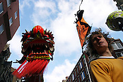 Man taking part to the traditional Chinese Dragon Dance in Soho, London, UK, on Sunday, Feb. 13, 2005. **ITALY OUT**