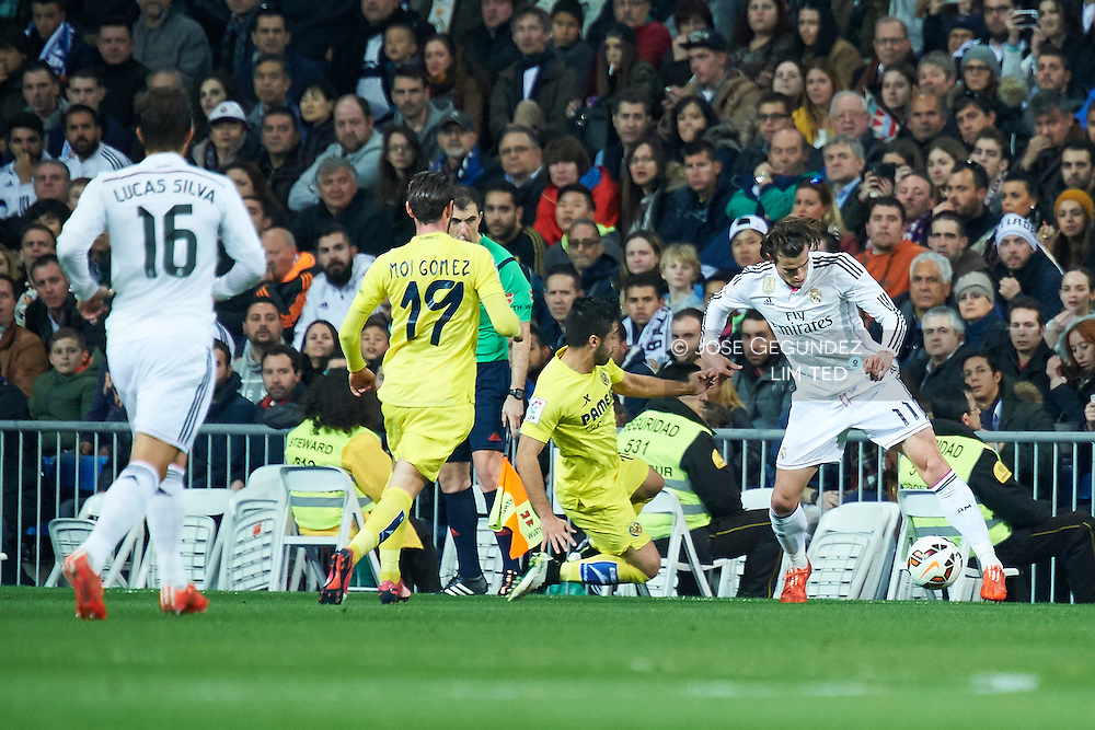 Gareth Bale during Real Madrid v Villarreal CF, La Liga football match at Santiago Bernabeu on March 1, 2015 in Madrid