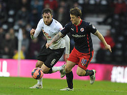 Reading Simon Cox and Derby Richard Keogh makes Chase, Derby County v Reading, FA Cup 5th Round, The Ipro Stadium, Saturday 14th Febuary 2015
