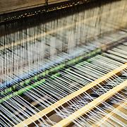 Close-up of a weaving loom at Xcarat Maya theme park south of Cancun and Playa del Carmen on Mexico's Yucatana Peninsula.