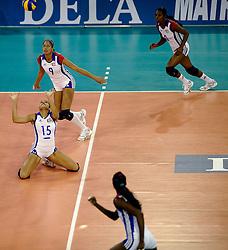 15-10-2010 VOLLEYBAL: DELA TROPHY NEDERLAND - CUBA: EINDHOVEN<br /> In een volgepakt Indoor Sportcentrum wint Nederland de derde wedstrijd tegen Cuba met 3-2 / 15 Yusidey Silie Frometa, 9 Rachel Sanchez Perez<br /> &copy;2010-WWW.FOTOHOOGENDOORN.NL