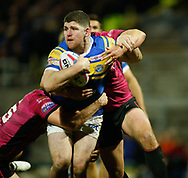 Mitch Garbutt of Leeds Rhinos on the attack against Danny Washbrook of Hull FC during the Betfred Super League match at Emerald Headingley Stadium, Leeds<br /> Picture by Stephen Gaunt/Focus Images Ltd +447904 833202<br /> 08/03/2018