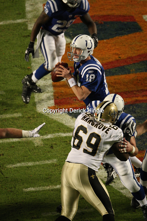 2010 February 07: Indianapolis Colts quarterback Peyton Manning (18) in action during a 31-17 win by the New Orleans Saints over the Indianapolis Colts in Super Bowl XLIV at Sun Life Stadium in Miami, Florida.