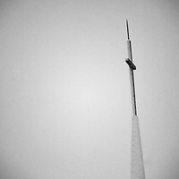 The steeple of St. Catherine's Roman Catholic Church in North Middletown NJ during a snowfall.
