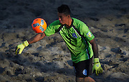 El Salvador goalkeeper Ramos in action at the Copa Pilsener 2016.