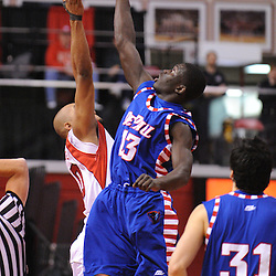 Jan 31, 2009; Piscataway, NJ, USA; DePaul center Mac Koshwal (13) beats Rutgers forward Gregory Echenique (00) for the tip-off at the start of Rutgers' 75-56 victory over DePaul in NCAA college basketball at the Louis Brown Athletic Center