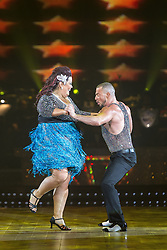 © Licensed to London News Pictures . 31 January 2013 . Manchester Arena , Manchester , UK . Lisa Riley and dance partner Robin Windsor dancing . Strictly Come Dancing on tour . Photo credit : Joel Goodman/LNP