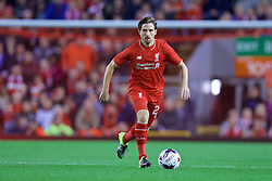 LIVERPOOL, ENGLAND - Wednesday, September 23, 2015: Liverpool's Joe Allen in action against Carlisle United during the Football League Cup 3rd Round match at Anfield. (Pic by David Rawcliffe/Propaganda)