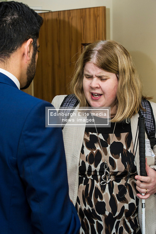 Pictured: Councillor Sheila Hands, representing Guide Dogs, and Hamza Yousef<br /> Transport minister Humza Yousaf unveiled details of   Going Forward - Scotland's Accessible Travel Framework in Edinburgh today. The blueprint, which has been co-produced by Transport Scotland, disabled people's organisations, local government, transport providers and operators. <br /> <br /> <br /> Ger Harley   EEm 21 September 2016