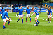 Macclesfield Town warming up before the EFL Sky Bet League 2 match between Macclesfield Town and Morecambe at Moss Rose, Macclesfield, United Kingdom on 20 August 2019.