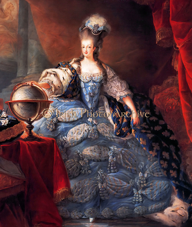 Marie Antoinette, Queen of France, in coronation robes by Jean-Baptiste Gautier Dagoty, 1775. Maria Antoinette 1755 – 1793)