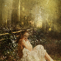 Female sitting in a forest surrounded by trees