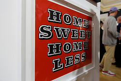 "© Licensed to London News Pictures. 03/05/2017. London, UK. A screenprint called """"Home Sweet Homeless (Red)"", by Ben Eine on display at the preview of the 32nd London Original Print Fair at the Royal Academy of Arts in Piccadilly.  51 international specialist dealers are presenting works in the print medium to buyers from 4 May to 7 May. Photo credit : Stephen Chung/LNP"